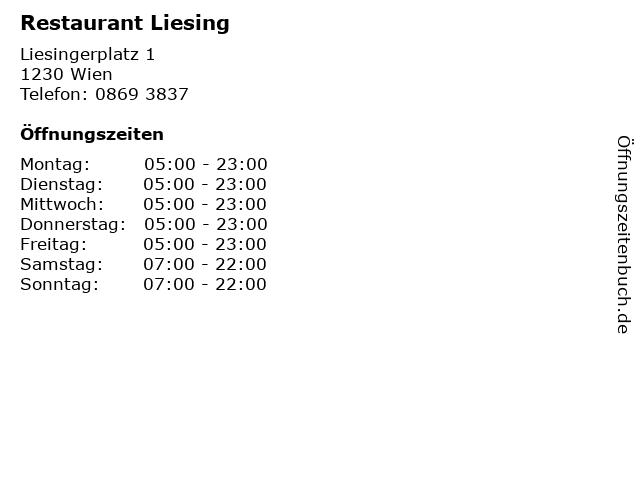 Restaurant Liesing in Wien: Adresse und Öffnungszeiten