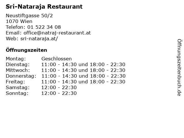 Restaurant Natraj in Wien: Adresse und Öffnungszeiten