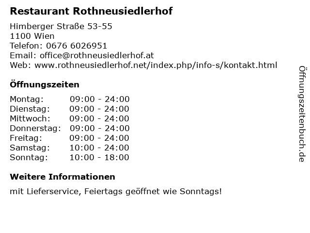Restaurant Rothneusiedlerhof in Wien: Adresse und Öffnungszeiten