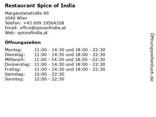 Restaurant Spice of India in Wien: Adresse und Öffnungszeiten
