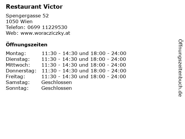 Restaurant Victor in Wien: Adresse und Öffnungszeiten