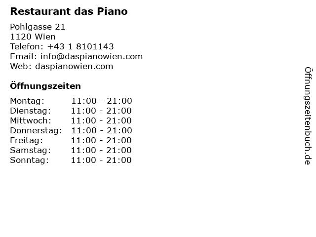 Restaurant das Piano in Wien: Adresse und Öffnungszeiten