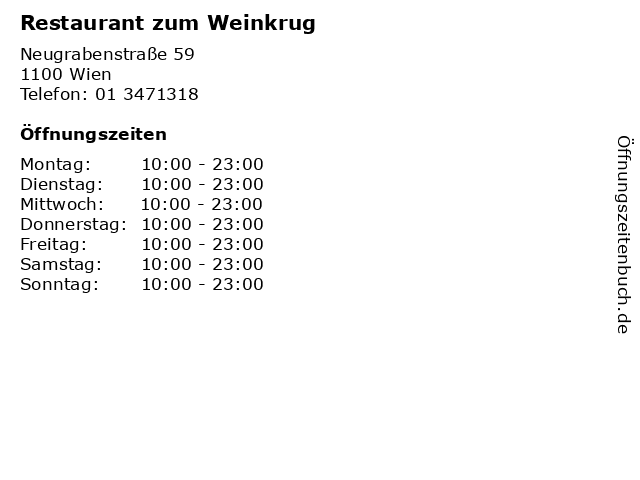 Restaurant zum Weinkrug in Wien: Adresse und Öffnungszeiten