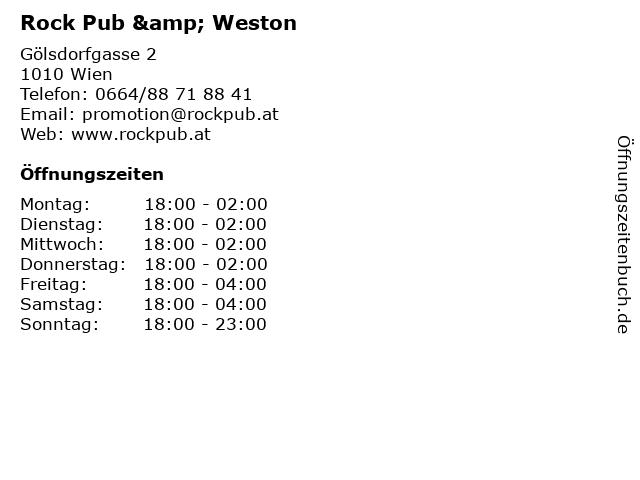 Rock Pub & Weston in Wien: Adresse und Öffnungszeiten