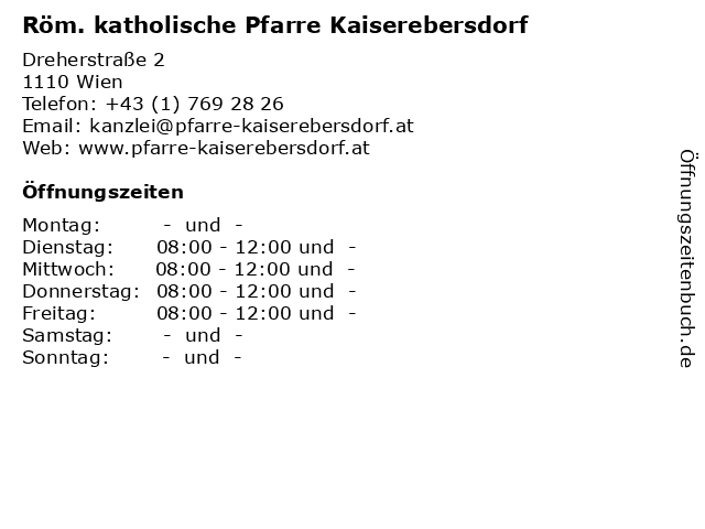 Röm. katholische Pfarre Kaiserebersdorf in Wien: Adresse und Öffnungszeiten