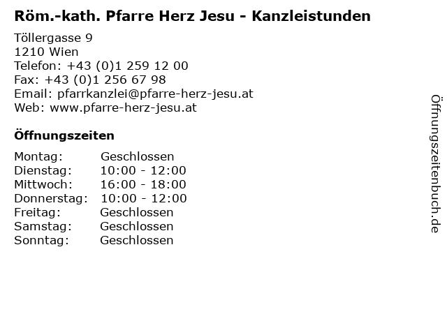 Röm.-kath. Pfarre Herz Jesu - Kanzleistunden in Wien: Adresse und Öffnungszeiten