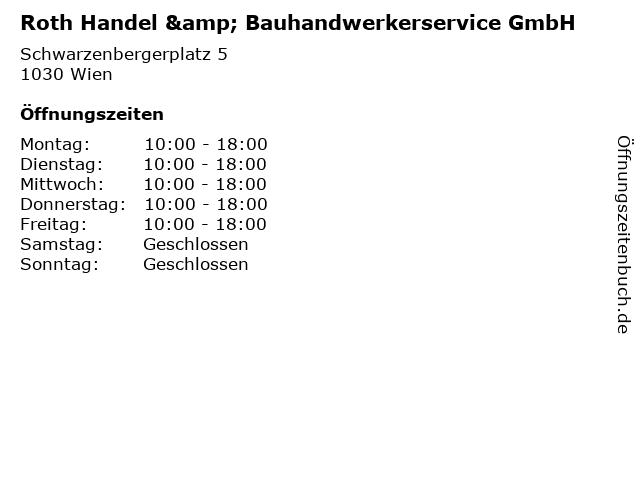 Roth Handel & Bauhandwerkerservice GmbH in Wien: Adresse und Öffnungszeiten