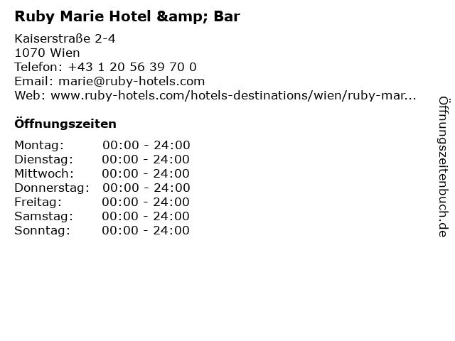 Ruby Marie Hotel & Bar in Wien: Adresse und Öffnungszeiten