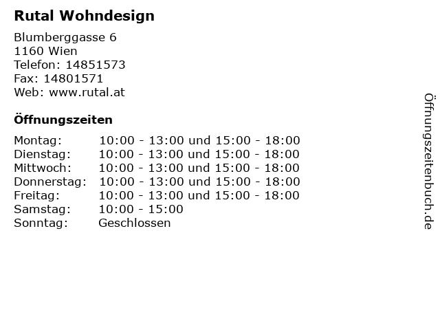 ᐅ Offnungszeiten Rutal Wohndesign Blumberggasse 6 In Wien