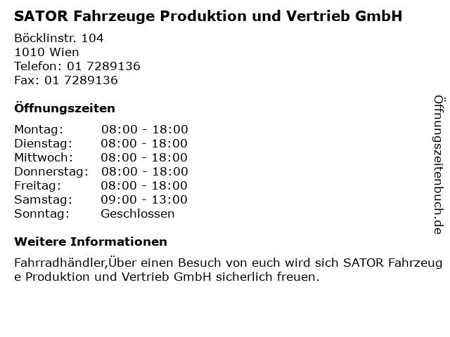 SATOR Fahrzeuge Produktion und Vertrieb GmbH in Wien: Adresse und Öffnungszeiten