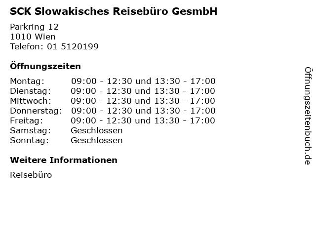 SCK Slowakisches Reisebüro GesmbH in Wien: Adresse und Öffnungszeiten