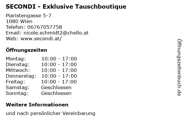 SECONDI - Exklusive Tauschboutique in Wien: Adresse und Öffnungszeiten