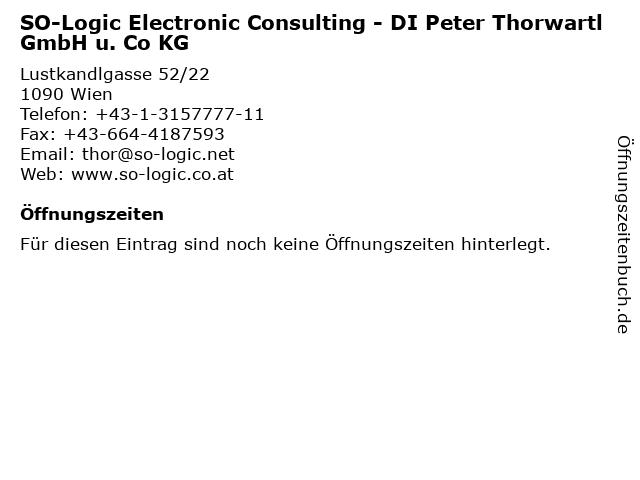 SO-Logic Electronic Consulting - DI Peter Thorwartl GmbH u. Co KG in Wien: Adresse und Öffnungszeiten