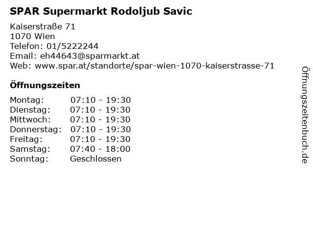 ᐅ öffnungszeiten Spar Supermarkt Kaiserstraße 71 In Wien