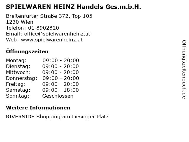 SPIELWAREN HEINZ Handels Ges.m.b.H. in Wien: Adresse und Öffnungszeiten