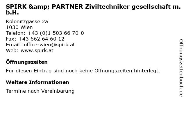 SPIRK & PARTNER Ziviltechniker gesellschaft m.b.H. in Wien: Adresse und Öffnungszeiten