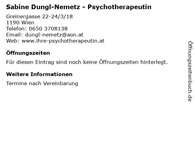 Sabine Dungl-Nemetz - Psychotherapeutin in Wien: Adresse und Öffnungszeiten