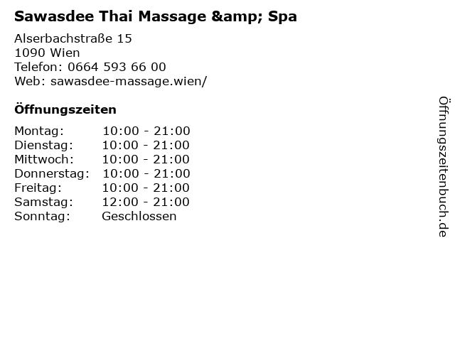 Sawasdee Thai Massage & Spa in Wien: Adresse und Öffnungszeiten