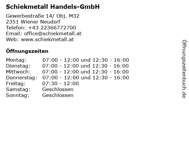 Schiekmetall Handels-GmbH in Wien: Adresse und Öffnungszeiten