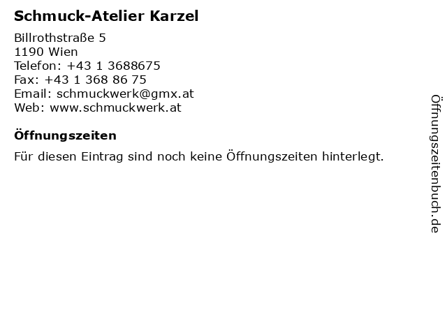 Schmuck-Atelier Karzel in Wien: Adresse und Öffnungszeiten