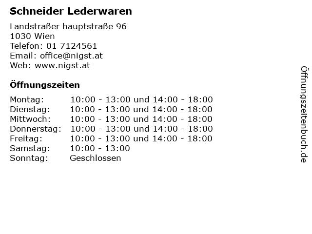 Schneider Lederwaren in Wien: Adresse und Öffnungszeiten