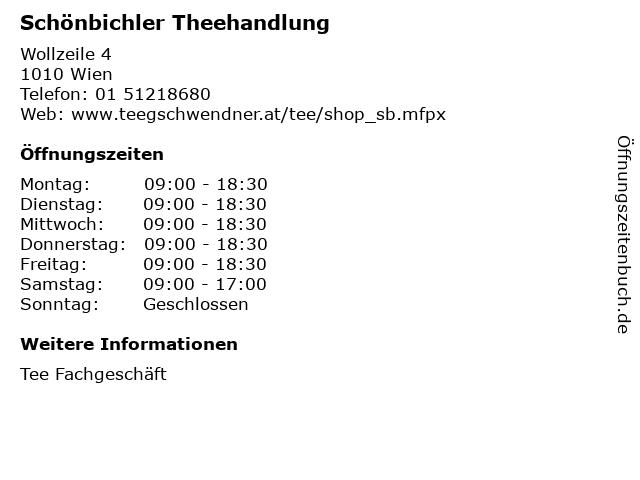 Schönbichler Theehandlung in Wien: Adresse und Öffnungszeiten