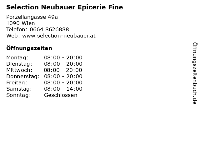 Selection Neubauer Epicerie Fine in Wien: Adresse und Öffnungszeiten