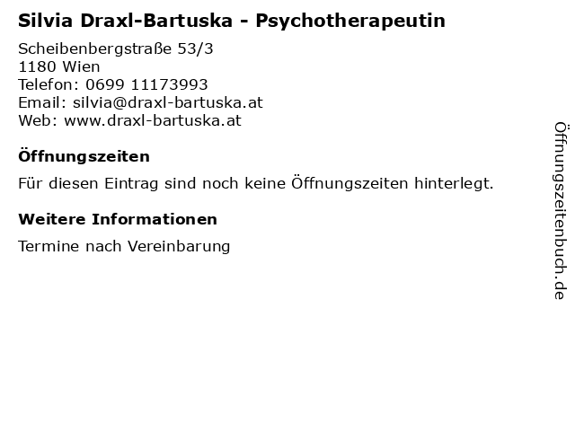 Silvia Draxl-Bartuska - Psychotherapeutin in Wien: Adresse und Öffnungszeiten