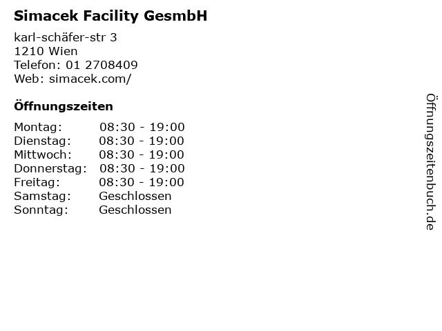 Simacek Facility GesmbH in Wien: Adresse und Öffnungszeiten