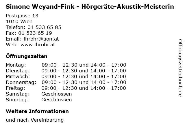 Simone Weyand-Fink - Hörgeräte-Akustik-Meisterin in Wien: Adresse und Öffnungszeiten