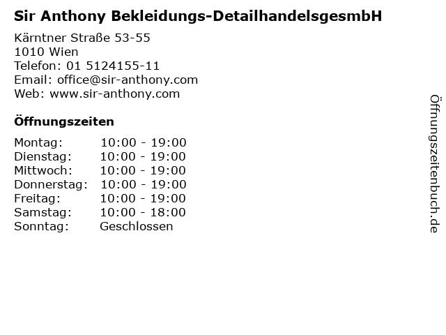 Sir Anthony Bekleidungs-DetailhandelsgesmbH in Wien: Adresse und Öffnungszeiten