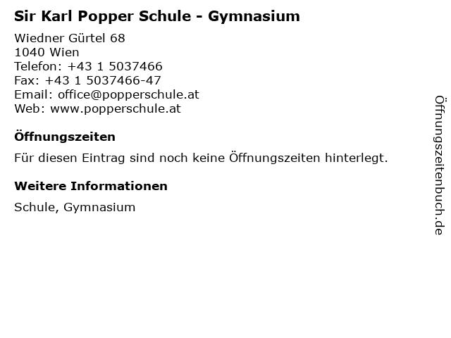Sir Karl Popper Schule - Gymnasium in Wien: Adresse und Öffnungszeiten
