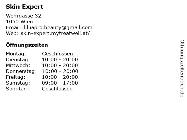 Skin Expert in Wien: Adresse und Öffnungszeiten