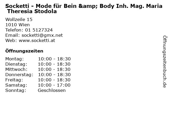 Socketti - Mode für Bein & Body Inh. Mag. Maria Theresia Stodola in Wien: Adresse und Öffnungszeiten