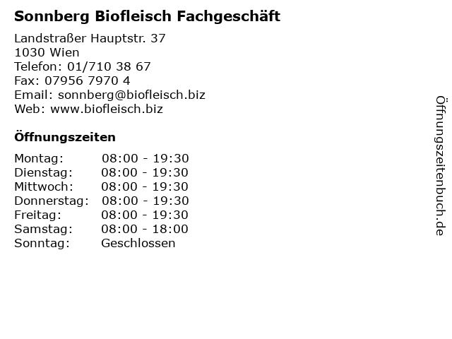 Sonnberg Biofleisch Fachgeschäft, Filiale in Wien: Adresse und Öffnungszeiten