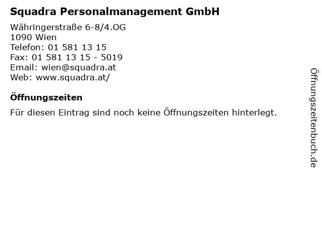 Squadra Personalmanagement GmbH in Wien: Adresse und Öffnungszeiten