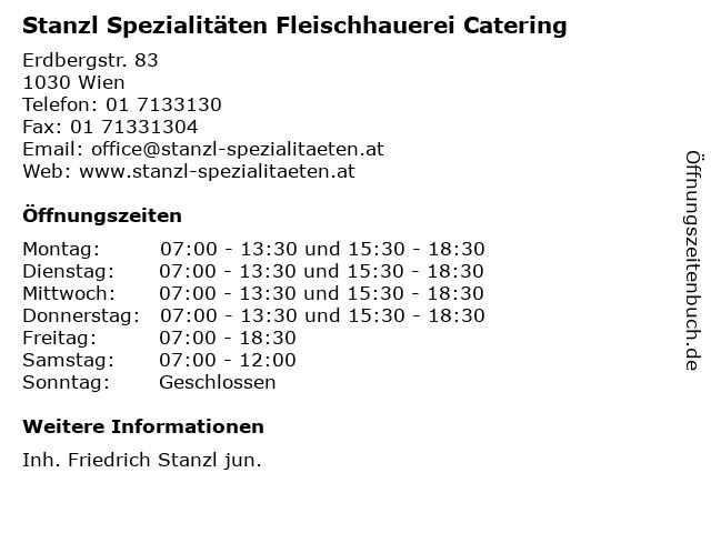 Stanzl Spezialitäten Fleischhauerei Catering in Wien: Adresse und Öffnungszeiten