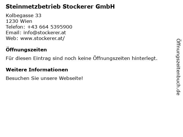Steinmetzbetrieb Stockerer OG in Wien: Adresse und Öffnungszeiten