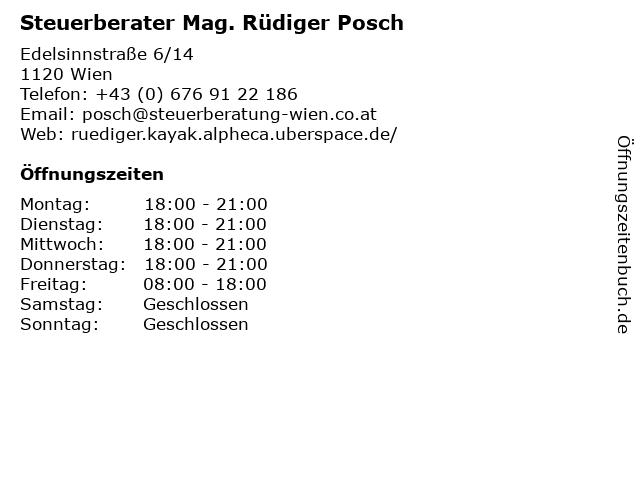 Steuerberater Mag. Rüdiger Posch in Wien: Adresse und Öffnungszeiten