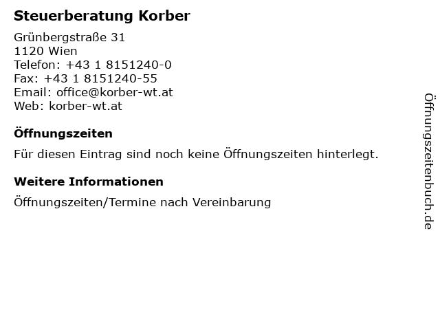 Steuerberatung Korber in Wien: Adresse und Öffnungszeiten