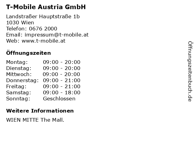 ᐅ öffnungszeiten T Mobile Austria Gmbh Landstraßer Hauptstraße