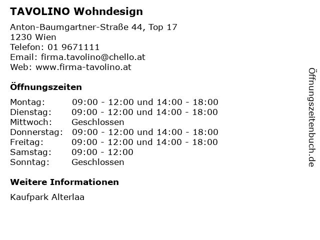 ᐅ Offnungszeiten Tavolino Wohndesign Anton Baumgartner Strasse