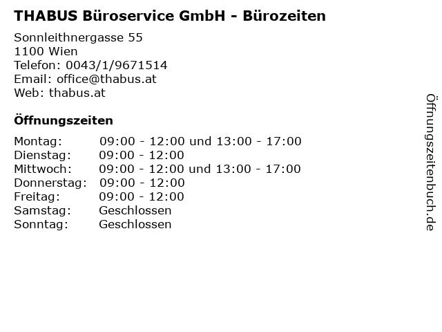 THABUS Büroservice GmbH - Bürozeiten in Wien: Adresse und Öffnungszeiten