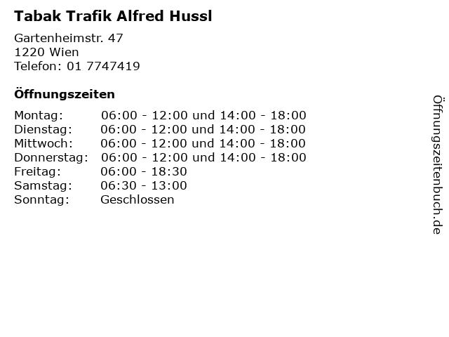 Tabak Trafik Alfred Hussl in Wien: Adresse und Öffnungszeiten