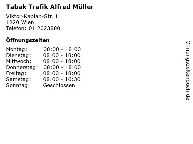 Tabak Trafik Alfred Müller in Wien: Adresse und Öffnungszeiten