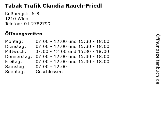 Tabak Trafik Claudia Rauch-Friedl in Wien: Adresse und Öffnungszeiten