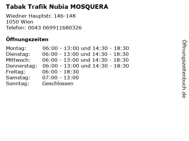 Tabak Trafik Nubia MOSQUERA in Wien: Adresse und Öffnungszeiten