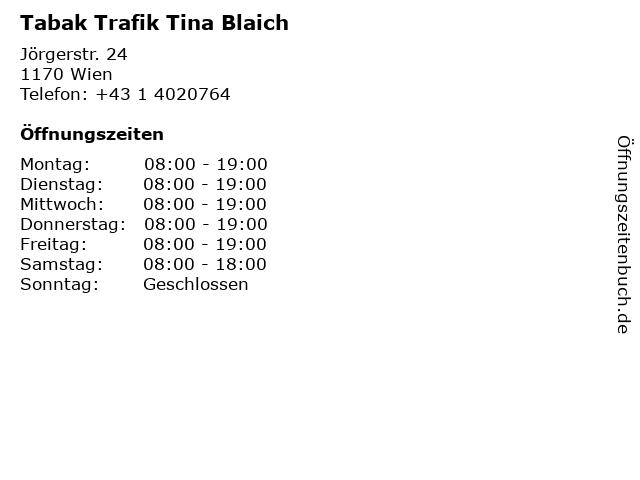 Tabak Trafik Tina Blaich in Wien: Adresse und Öffnungszeiten