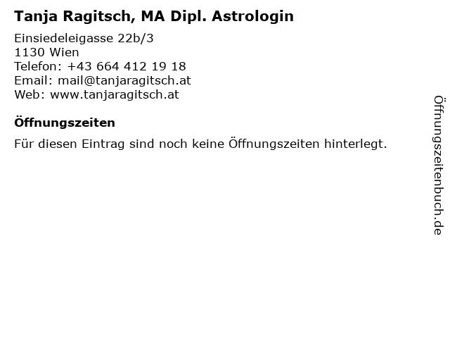 Tanja Ragitsch, MA Dipl. Astrologin in Wien: Adresse und Öffnungszeiten