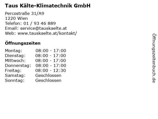Taus Kälte-Klimatechnik GmbH in Wien: Adresse und Öffnungszeiten